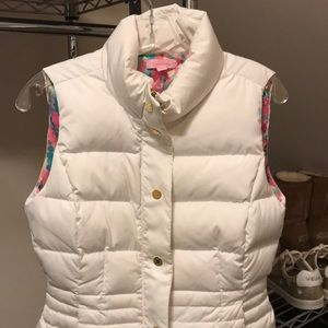 Lilly Pulitzer White Puffer Vest Size Small